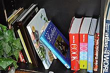 SHELF OF ASSORTED COOK BOOKS, INCL. JAMIE OLIVER, GORDON RAMSEY, ETC.