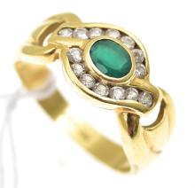 A GREEN STONE AND DIAMOND DRESS RING IN 18CT GOLD