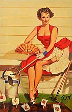 DENNIS ROPAR (BORN 1971) Pin-Up Girl in Red Dress oil on canvas