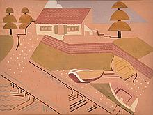 GRACE CROWLEY (1890-1979) Boat House gouache
