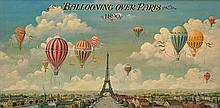 ARTIST UNKNOWN (FRENCH SCHOOL) Ballooning Over Paris 1890 oil on board