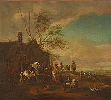 CIRCLE OF PIETER WOUWERMAN (17th CENTURY, DUTCH) The Farriery oil on board