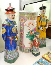 THREE CHINESE REPUBLIC FIGURES AND A FAMILLE ROSE UMBRELLA STAND
