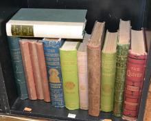 SHELF OF VINTAGE DECORATELY BOUND BOOKS INCLUDING THE QUIVER 1896