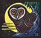 LESLIE VAN DER SLUYS (1939-2010) Australian Sooty Owl 2003 linocut 49/90