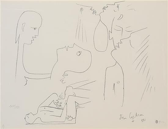 JEAN COCTEAU (FRENCH, 1889-1963) Les Amoureux 1957 lithograph 140/150