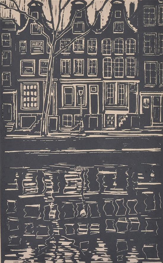 MICHIEL SCHRIJVER (DUTCH, BORN 1957) Amsterdam Canal 1986 linocut 4/50