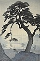 SHIRO KASAMATSU (JAPANESE, 1898-1991) Pine Tree in Rainy Season, Kinokunizaka, Tokyo woodblock