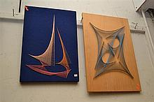 AN ABSTRACT STRING ART ON BOARD AND A BOAT STRING ART