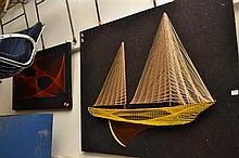 A LARGE STRING ART SHIP ON BOARD AND AN ABSTRACT STRING ART ON BOARD
