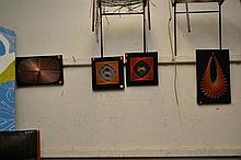 A COLLECTION OF FOUR ABSTRACT STRING ART ARTWORKS ON BOARD
