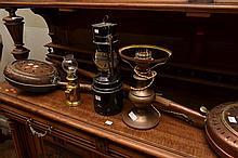 THREE ASSORTED KEROSENE LAMPS