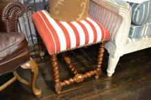 PAIR OF CHARLES II STYLE STOOLS, UPHOLSTERED IN RED AND WHITE STRIPED DHURRIE