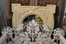 A LARGE WHITE PAINTED FRENCH MIRROR