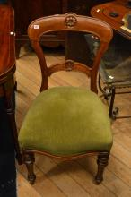 A SET OF SIX VICTORIAN BALLOON BACK OAK FRAMED DINING CHAIRS