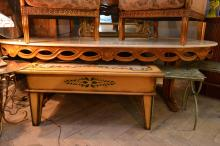 A LARGE ITALIAN BEECHWOOD TABLE WITH OVAL MARBLE TOP