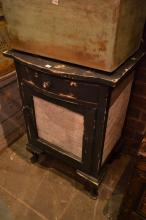 A RUSTIC PAINTED CABINET WITH TEXT DECORATION