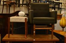 A 1970'S ARMCHAIR AND STOOL