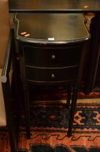 AN EBONISED TWIN DRAWER BEDSIDE AND PAINTED ITALIAN LAMP