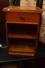 A 1940'S BEDSIDE CABINET WITH PARQUETRY TOP