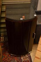 A PAIR OF DECO STYLE BEDSIDE CABINETS WITH BLACK GRANITE TOPS
