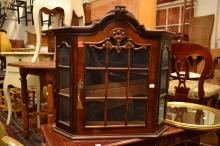 AN ANTIQUE STYLE WALL HANGING DISPLAY CABINET