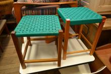 A PAIR OF 1960'S  STOOLS WITH WOODEN CORD SEATS