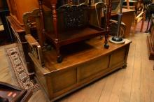 AN ANTIQUE STYLE CARVED TIMBER BENCH