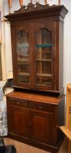 A VICTORIAN FOUR TIER BOOKCASE CABINET (with faults)