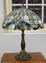 A BRONZE FINISHED TIFFANY STYLE TABLE LAMP (50cm h)