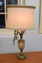 AN EMPIRE STYLE GILT AND MARBLE TABLE LAMP