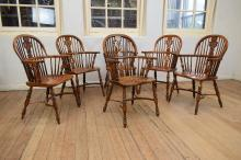 SET OF EIGHT MODERN WINDSOR STYLE ARMCHAIRS