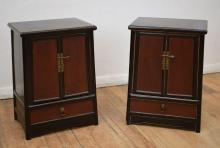 A PAIR OF ORIENTAL BLACK LACQUERED BEDSIDE CABINETS
