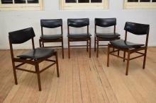 A SET OF FIVE MID CENTURY TEAK DINING CHAIRS