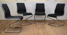 A SET OF FOUR CHROME WASSILI STYLE CANTILIVER CHAIRS