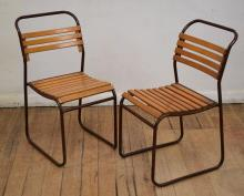 A PAIR OF METAL AND TIMBER CAFE CHAIRS