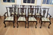 A SET OF EIGHT QUALITY CHIPPENDALE STYLE DINING CHAIRS (includes two carvers)