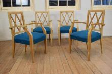 A MID-CENTURY FRENCH SIX PIECE DINING SUITE COMPRSING EXTENSION TABLE, FOUR DINING CHAIRS AND MATCHING BUFFET (please ask staff for...