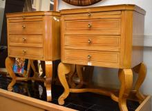 A PAIR OF LOUIS XV STYLE BEDSIDE CABINETS (chips to edge of top)
