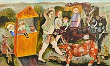 ANNE HALL (BORN 1945) Punch and Judy 1972 oil on board