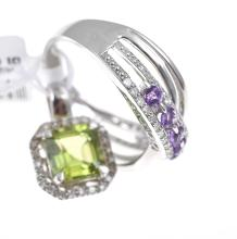 A PERIDOT AND DIAMOND PENDANT AND ONE AMETHYST AND DIAMOND RING IN SILVER