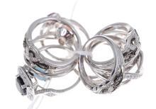 TEN STONE SET RINGS INCLUDING DIAMOND, IN SILVER