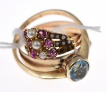 THREE RINGS SET WITH SEED PEARL, TURQUOISE, RUBY AND BLUE STONE, ALL IN 9CT, ONE WITH BIRMINGHAM MARK 1921