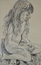 JOHN PERCIVAL, GIRL KNEELING WITH BOOK, PEN ON PAPER, 66 X 42CM, SIGNED LOWER LEFT: PERCIVAL