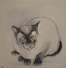 ARTIST UNKNOWN, SIGNED 'TW53', SIAMESE CAT, INK WASH ON CANVAS, 61 X 56CM
