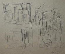 BILL COLEMAN, ABSTRACT STUDY, PENCIL ON PAPER, 23.5 X 27CM