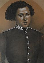 ARTIST UNKNOWN, LATE 19TH CENTURY PORTRAIT OF A SOLDIER, PASTEL AND PENCIL, 53 X 38CM