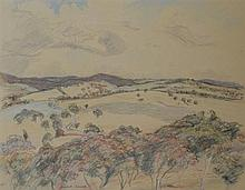 MICHAEL CARROLL, CANOBLAS SLOPES NSW, PASTEL AND CHARCOAL ON PAPER, 31 X 39CM