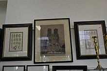 ARTIST UNKNOWN, NOTRE DAME, ETCHING AND TWO 19TH CENTURY LITHOGRAPHS OF CLASSICAL URNS