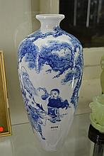 CHINESE BLUE AND WHITE EGGSHELLVASE DEPICTING SCHOLAR AND CHILD SCENES